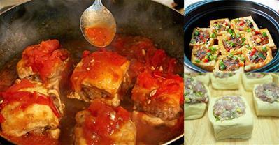 2 cách làm đậu phụ dồn thịt sốt cà chua ngon, không nát