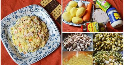 Cách làm salad Nga truyền thống đơn giản, ăn hoài không chán