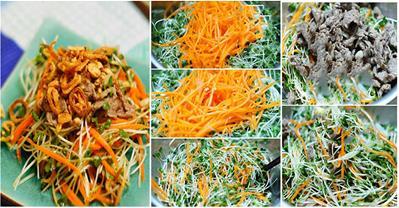 Hướng dẫn cách làm salad rau cải mầm trộn thịt bò ngon