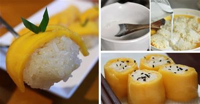 Lạ mắt với xôi xoài cuốn sushi thơm, dẻo mềm, ngọt lịm