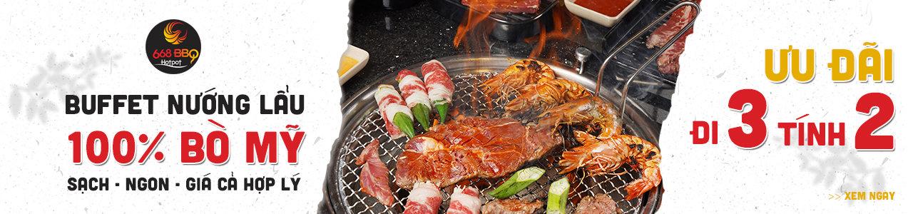 668 BBQ & Hotpot - Buffet lẩu nướng 100% Bò Mỹ