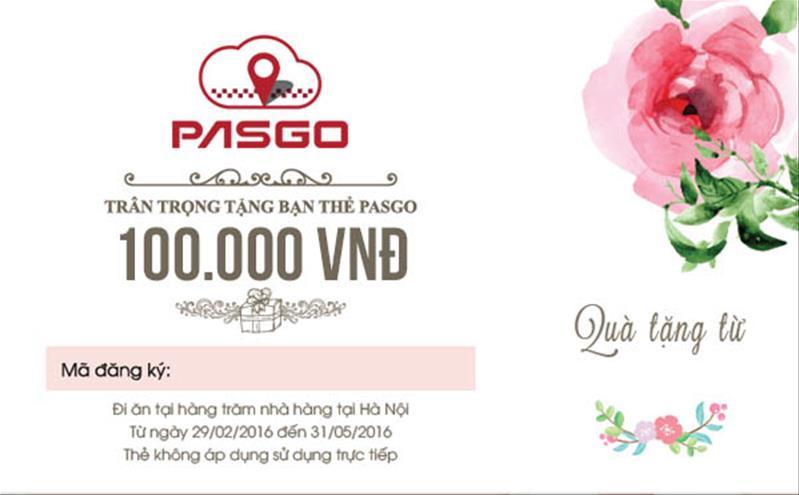 PASGO tặng thẻ khuyến mại khi đi ăn trị giá 100.000 VNĐ làm quà ra mắt